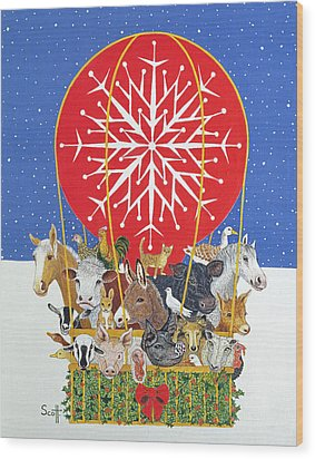 Christmas Journey Oil On Canvas Wood Print by Pat Scott