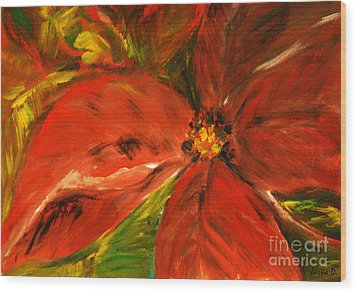 Wood Print featuring the painting Christmas Star by Jasna Dragun