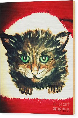 Wood Print featuring the painting Christmas Kitten  by Mindy Bench