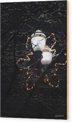 Christmas Light Post - Grants Pass Wood Print by Mick Anderson
