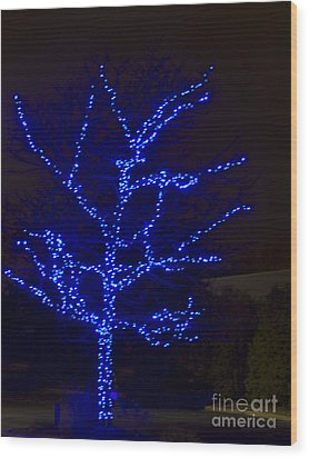 Christmas Light Series No 2  Blue  Wood Print