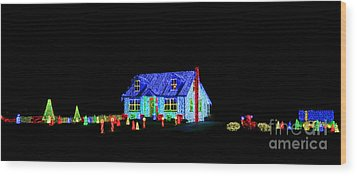 Christmas Lights Wood Print by Olivier Le Queinec