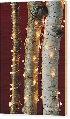 Christmas Lights On Birch Branches Wood Print by Elena Elisseeva