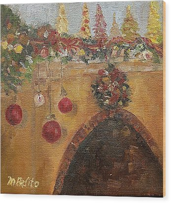 Christmas Mantle At The Mission Inn Wood Print by MaryAnne Ardito