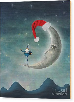 Christmas Moon Wood Print