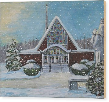 Wood Print featuring the painting Christmas Morning At Our Lady's Church by Rita Brown