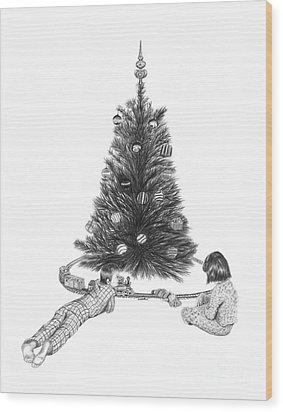 Christmas Morning Play  Wood Print by Peter Piatt