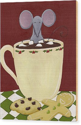 Christmas Mouse Wood Print by Christy Beckwith