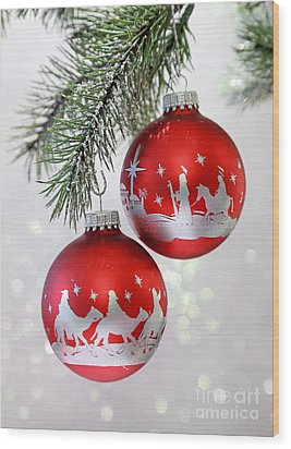 Christmas Nativity Ornaments Wood Print by Pattie Calfy