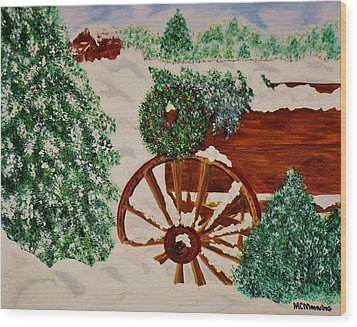 Wood Print featuring the painting Christmas On The Farm by Celeste Manning