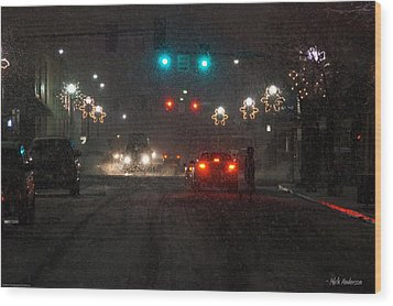Christmas On The Streets Of Grants Pass Wood Print by Mick Anderson