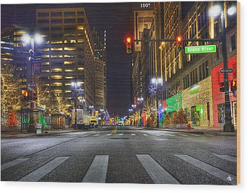 Christmas On Woodward Wood Print by Nicholas  Grunas