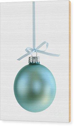 Christmas Ornament On White Wood Print by Elena Elisseeva
