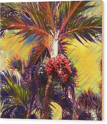 Christmas Palm Tree In Yellow - Square Wood Print