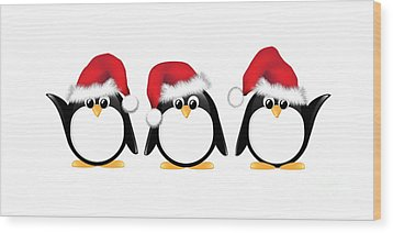 Christmas Penguins Isolated Wood Print by Jane Rix