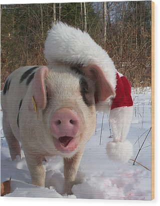 Christmas Pig Wood Print by Samantha Howell