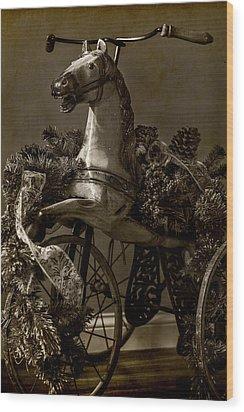 Christmas Pony Wood Print by Wayne Meyer