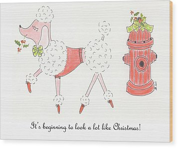 Christmas Poodle Wood Print