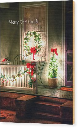 Christmas Porch Wood Print by Jerry Sodorff