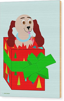 Christmas Puppy Wood Print