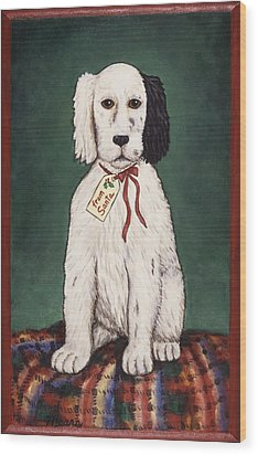 Christmas Puppy Wood Print by Linda Mears