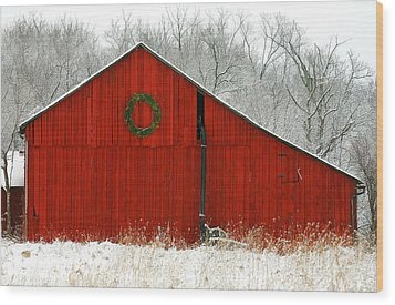 Christmas Red Wood Print by Clare VanderVeen