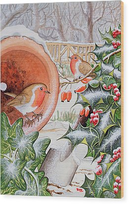 Christmas Robins Wood Print by Tony Todd