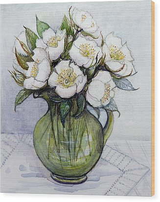 Christmas Roses Wood Print by Gillian Lawson