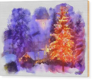 Wood Print featuring the painting Christmas Scenes 1 by Wayne Pascall