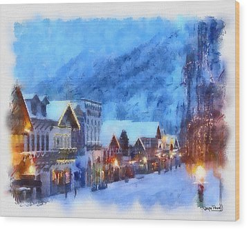 Wood Print featuring the painting Christmas Scenes 2 by Wayne Pascall