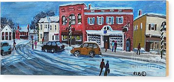 Christmas Shopping In Concord Center Wood Print by Rita Brown