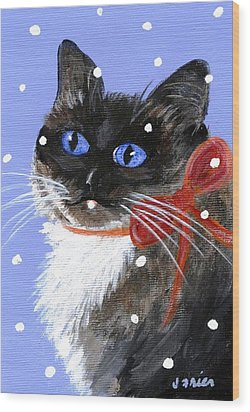 Christmas Siamese Wood Print by Jamie Frier