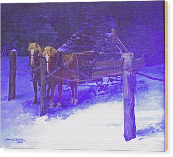 Christmas Sleigh Ride - Anticipation Wood Print by Harriett Masterson
