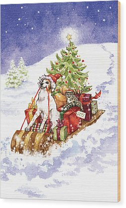 Christmas Sleigh Ride Dog And Cat Wood Print by Caroline Stanko