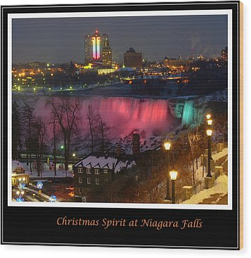 Christmas Spirit At Niagara Falls - Holiday Card Wood Print by Lingfai Leung