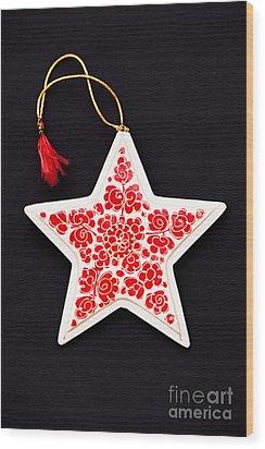 Christmas Star Wood Print by Anne Gilbert