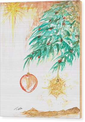 Wood Print featuring the painting Christmas Star by Teresa White