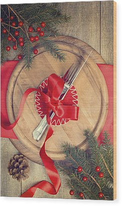 Christmas Table Setting Wood Print by Amanda Elwell