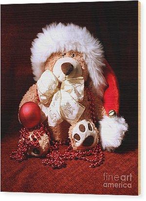 Christmas Teddy Wood Print by Terri Waters