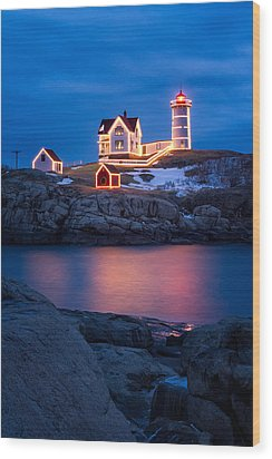 Christmas Time At Nubble Light. Wood Print by Jeff Sinon