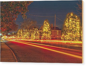 Wood Print featuring the photograph Christmas Town Usa by Alex Grichenko