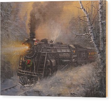 Christmas Train In Wisconsin Wood Print by Tom Shropshire
