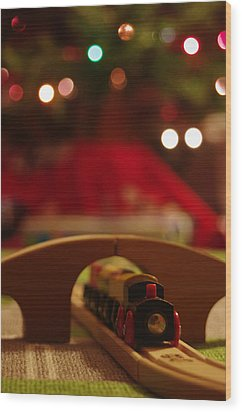 Christmas Train Wood Print by John Ayo