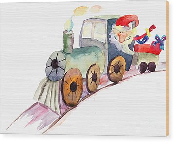 Christmas Train With Santa Claus Wood Print