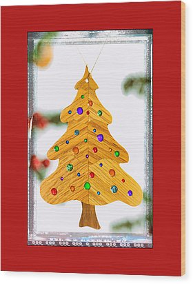 Christmas Tree Art Ornament In Red  Wood Print
