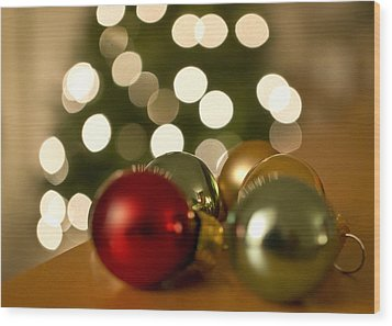 Christmas Tree Bokeh And Ornaments Wood Print by Mariola Szeliga