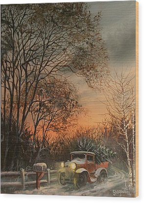 Christmas Tree Delivery Wood Print by Tom Shropshire