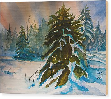 Christmas Tree Forest Wood Print