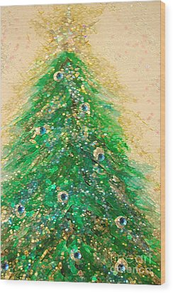 Christmas Tree Gold By Jrr Wood Print
