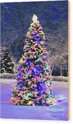 Christmas Tree In Snow Wood Print